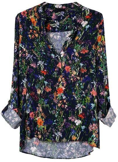 Black V Neck Long Sleeve Floral Blouse