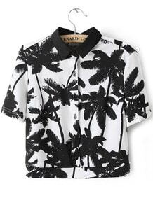 White Short Sleeve Palm Trees Print Crop Blouse
