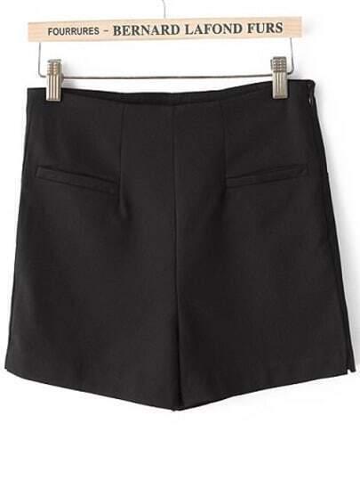 Black High Waist Pockets Straight Shorts