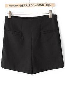 Black High Waist Pockets Straight Shorts