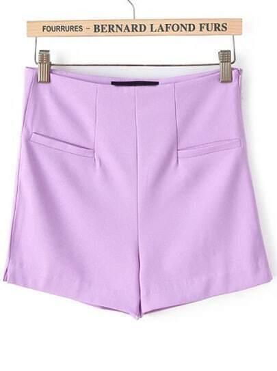 Purple High Waist Pockets Straight Shorts