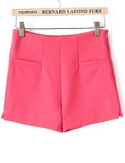 Red High Waist Pockets Straight Shorts