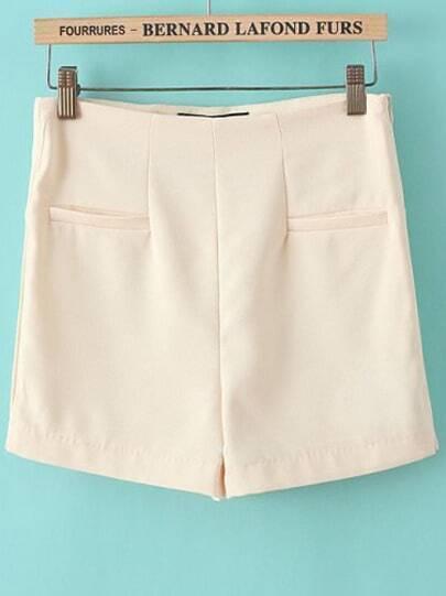 Yellow High Waist Pockets Straight Shorts