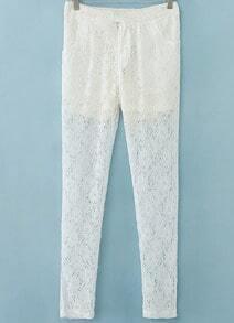 White Pockets Floral Crochet Lace Pant