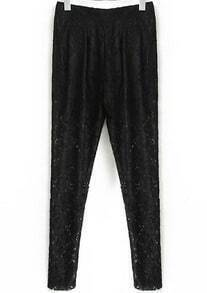 Black Pockets Floral Crochet Lace Pant