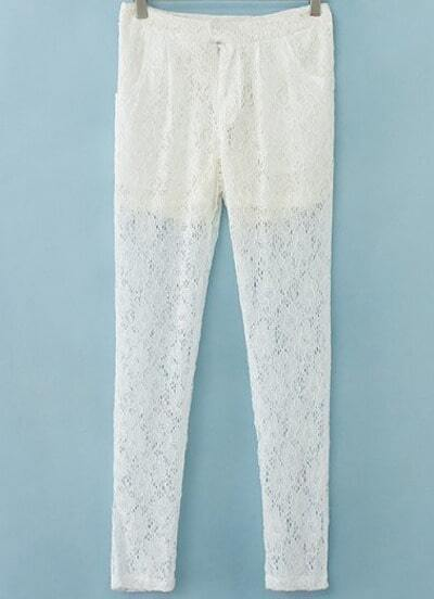 White Pockets Floral Crochet Lace Pant