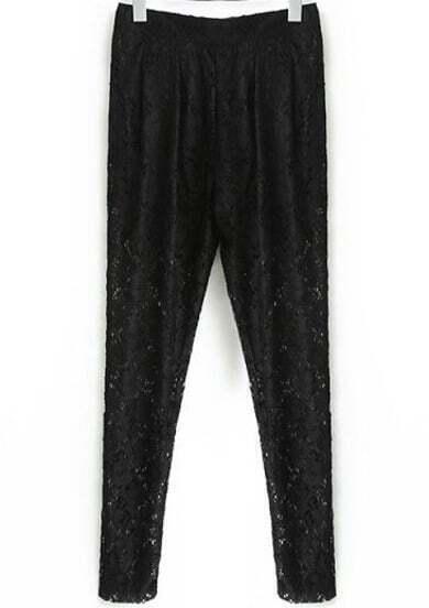 Black Pockets Floral Crochet Lace Pant