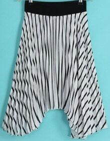 Black White Vertical Stripe Pleated Skirt Pant