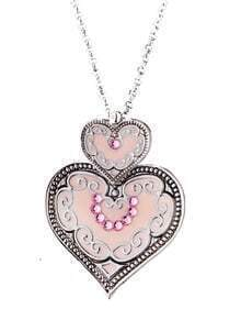 Silver Diamond Heart Chain Necklace