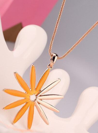 Orange Glaze Gold Sunflower Necklace