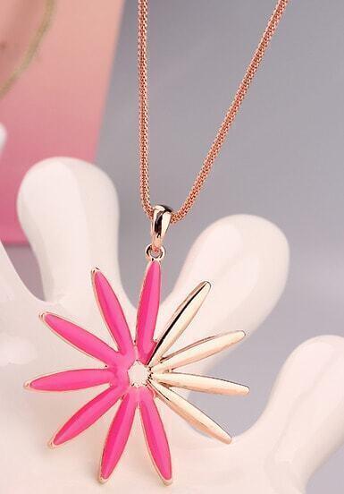 Red Glaze Gold Sunflower Necklace