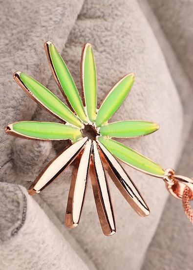Green Glaze Gold Sunflower Necklace