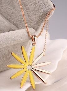 Yellow Glaze Gold Sunflower Necklace