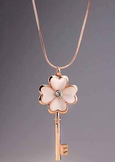 Gold Diamond Flower Key Necklace