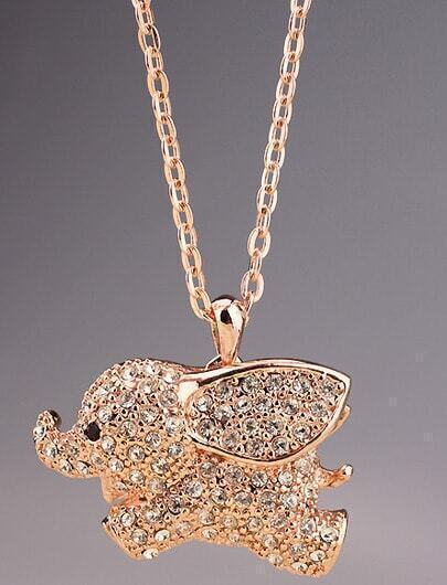 Gold Diamond Hollow Elephant Necklace