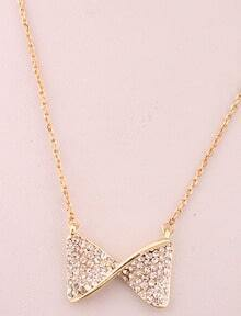 Gold Diamond Bow Necklace