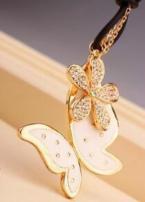 Gold Diamond Flower Butterfly Necklace