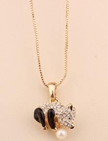 Gold Diamond Glaze Panda Necklace