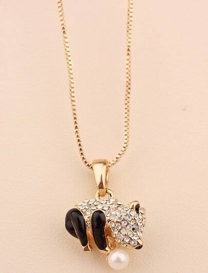Gold Diamond Glaze Panda Necklace