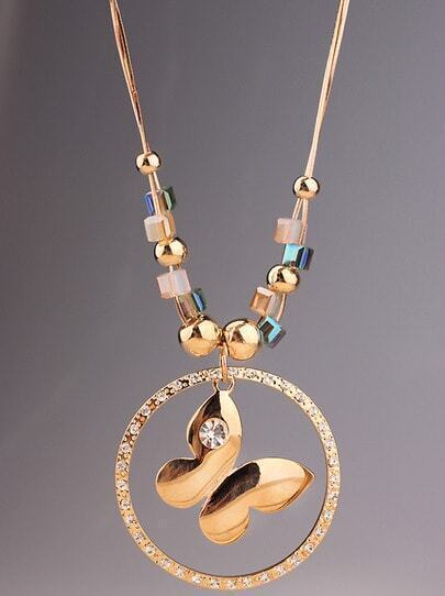 Gold Butterfly Circle Necklace