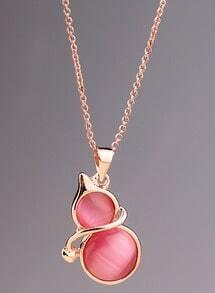 Red Gemstone Gold Gourd Necklace
