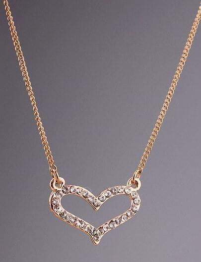 Silver Diamond Hollow Heart Necklace