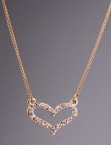 Silver Diamond Hollow Heart Necklace