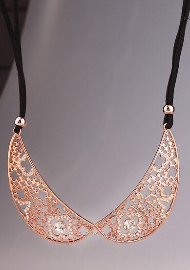 Gold Diamond Hollow Collar Necklace