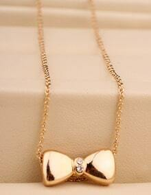 Gold Bow Chain Necklace