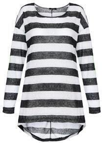 Black White Striped Long Sleeve Elbow Patch T-Shirt