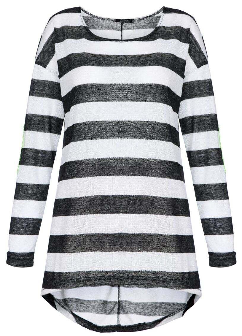 Black White Striped Long Sleeve Elbow Patch T-Shirt -SheIn(Sheinside)