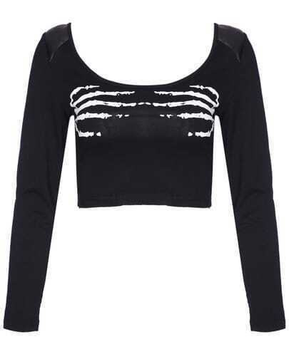 Black Long Sleeve Skeletal Hand Print Crop T-Shirt