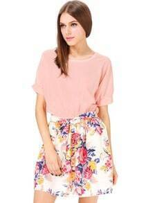 Pink Short Sleeve Floral Print Belt Pleated Dress