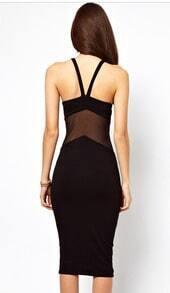 Black Contrast Mesh Yoke Backless Slim Dress