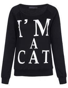 Black Long Sleeve I'm A Cat Print Sweatshirt