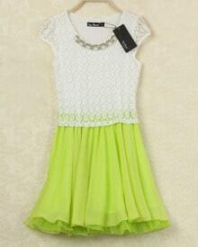 White Contrast Yellow Lace Ruffle Dress