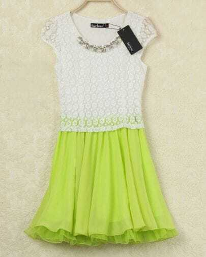 White Contrast Yellow Lace Ruffle Dress