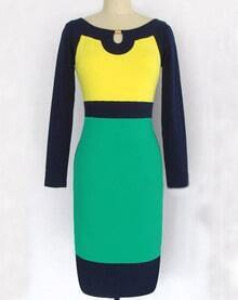 Yellow Contrast Green Long Sleeve Dress
