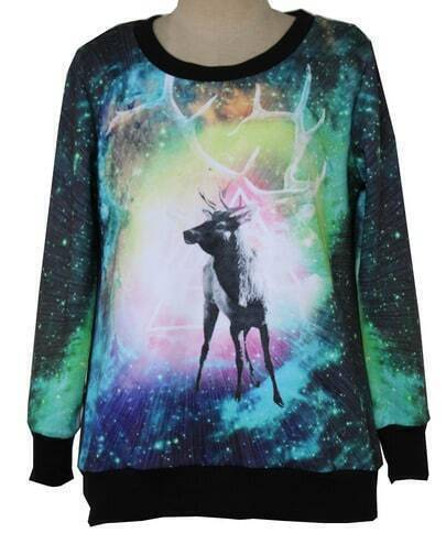 Multi Long Sleeve Sky Deer Pattern Sweatshirt