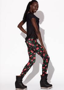Black Fruit Print Leggings