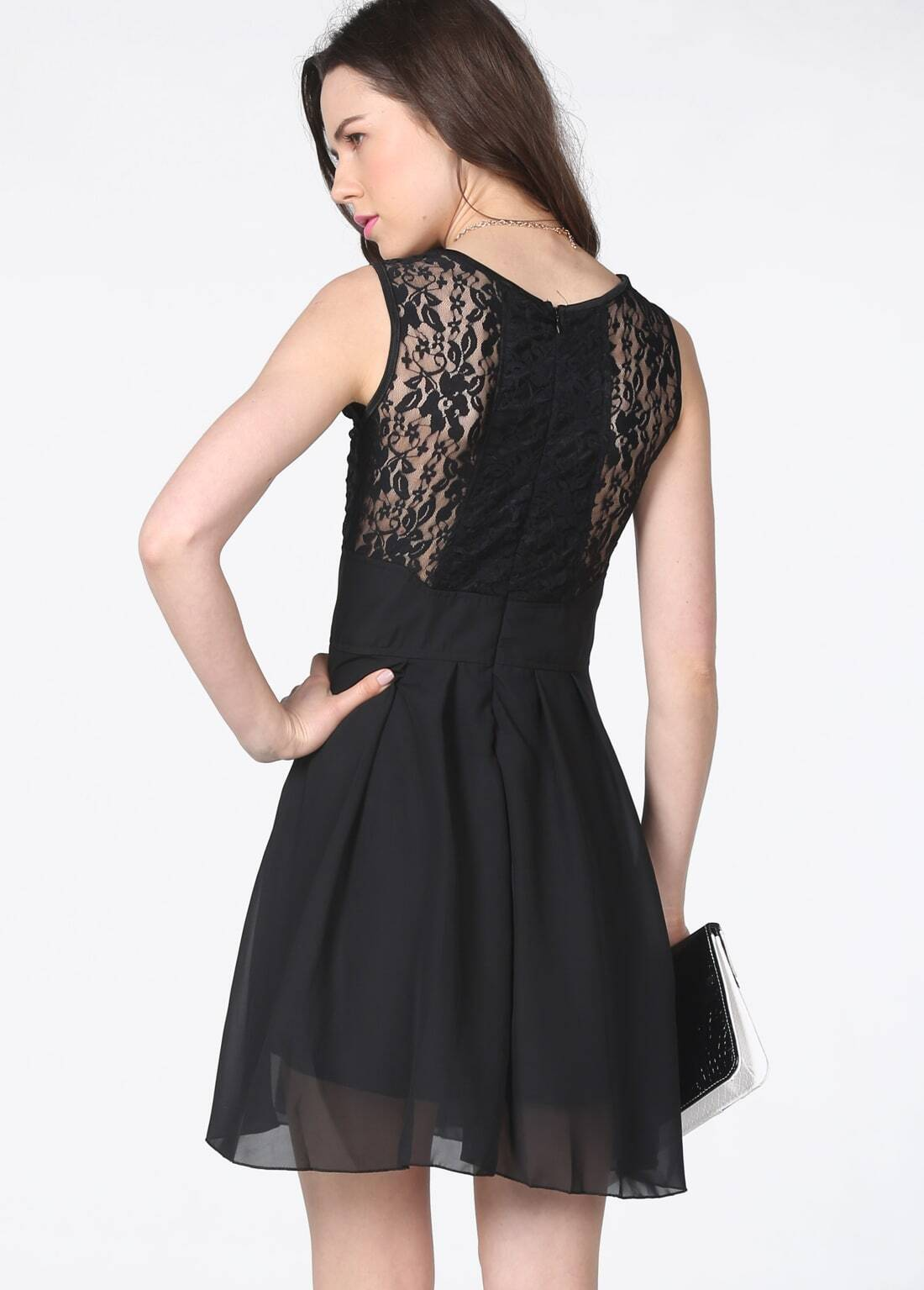 Black Lace Bandeau Dress Black Sleeveless Lace Bandeau