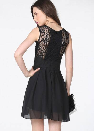 Black Sleeveless Lace Bandeau Ruffles Dress