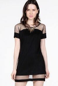 Black Contrast Sheer Mesh Yoke Loose Dress