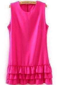 Rose Red Sleeveless Cascading Ruffle Dress