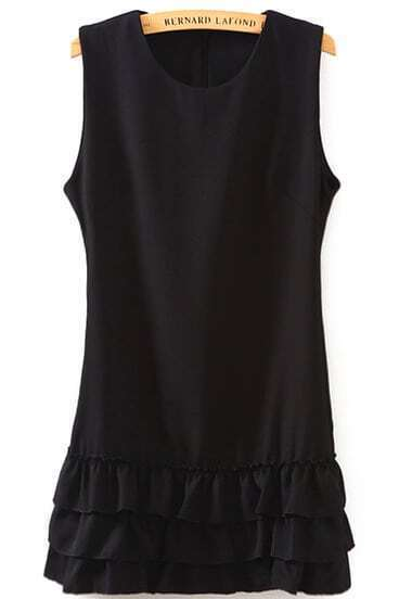 Black Sleeveless Cascading Ruffle Dress