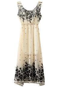 Beige Sleeveless Vintage Floral Chiffon Dress