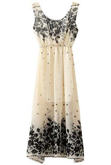 Beige Sleeveless Vintage Floral Chiffon Dress