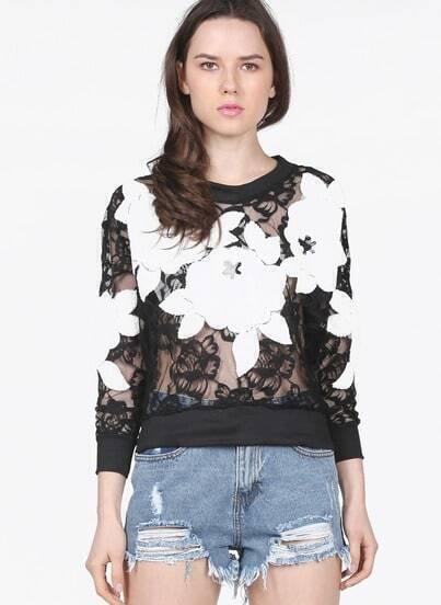 Black Long Sleeve 3D Floral Pattern Lace Sweatshirt