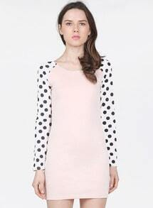 Beige Contrast Polka Dot Long Sleeve Bodycon Dress