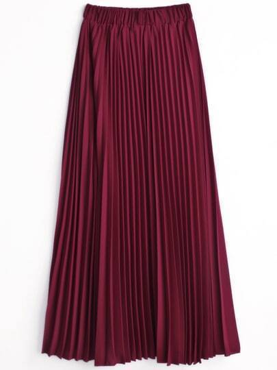 pleated chiffon a line skirt shein sheinside